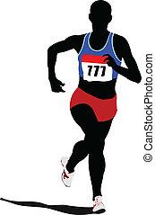 wyścigi, peop, athletics., afisz