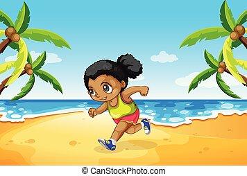 wyścigi, plaża, dziewczyna