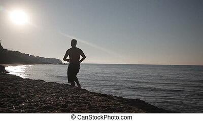 wyścigi, plaża, sunrise., człowiek