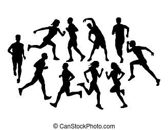 wyścigi, sylwetka, biegacze