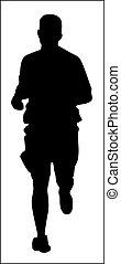 wyścigi, sylwetka, jogging, człowiek