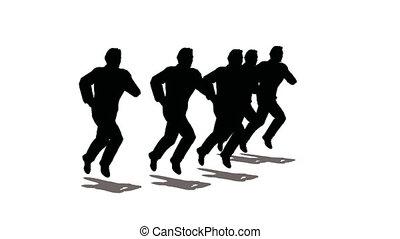 wyścigi, sylwetka, lider, ludzie