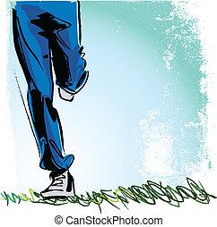 wyścigi, wektor, człowiek, ilustracja
