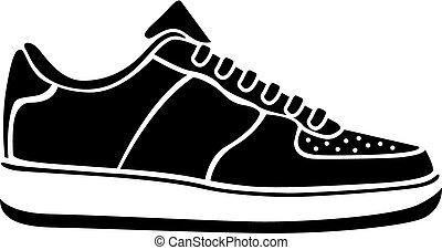 wyścigi, wektor, czarny bucik, czynny, sneakers, sport, ...