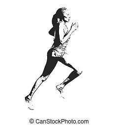 wyścigi, wektor, sketch., ilustracja, kobieta