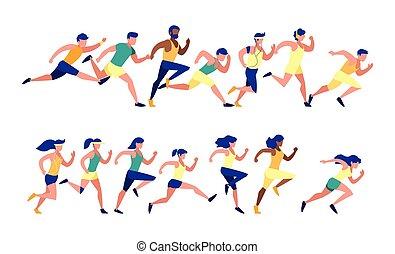 wyścigi, wektor, wystawiany zamiar, mężczyźni, kobiety