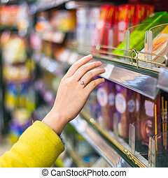 wybór, closeup, towar, supermarket