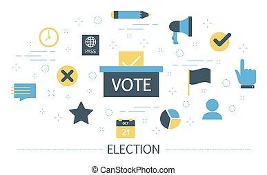 wybór, głos, campaign., kandydat, ludzie