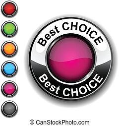 wybór, najlepszy, button.