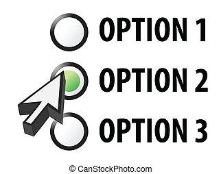 wybór, opcja, 1, 3, 2, albo