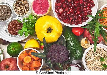 wybór, pojęcie, jadło, składniki, komplet, do góry., zdrowy, pokarmy
