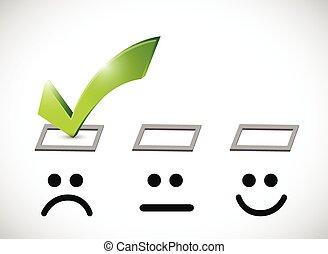 wybór, smutny, ilustracja, marka, twarz, czek