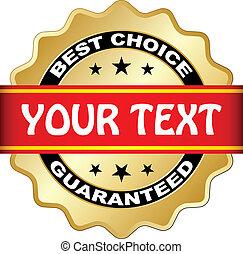 wybór, wektor, guaranteed, najlepszy, etykieta