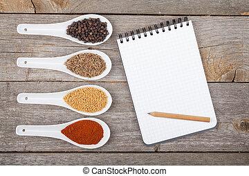 wybór, zioła, przyprawy, barwny