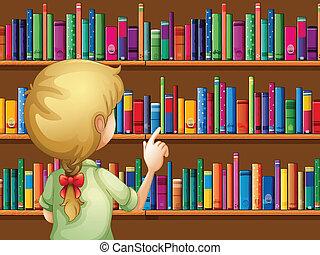 wybierając, dziewczyna, książki