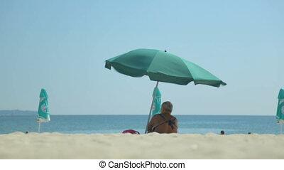wybrzeże, lato, prospekt, plaża