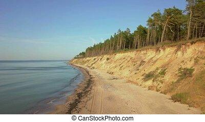 wybrzeże, stromy, bank