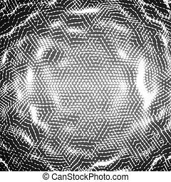 wybuch, handlowy, kula, presentations., abstrakcyjny, sphere., particles., elegancki, jarzący się, wektor, tło, wykrzywiony, grayscale, monochromia, technologia, style., futurystyczny