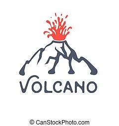 wybuch, ilustracja, wektor, tło, wulkan, biały, logo