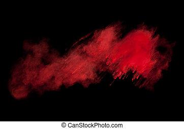 wybuch, marznąć, ruch, czarne tło, kurz, czerwony