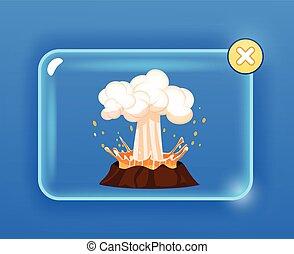 wybuch, na, potężny, gorący, lawa, wulkan, para
