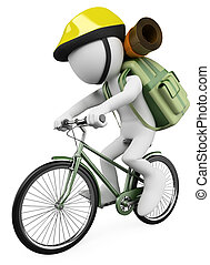 wycieczkowicz, ludzie., biały, biker, 3d