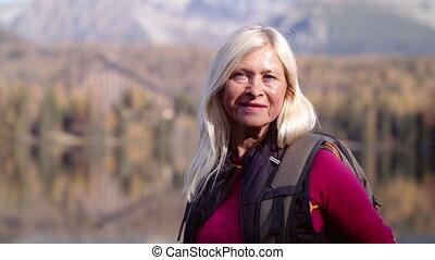 wycieczkowicz, nature., czynny, reputacja, kobieta, outdoors...