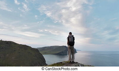 wycieczkowicz, pieszy, kobieta, góra