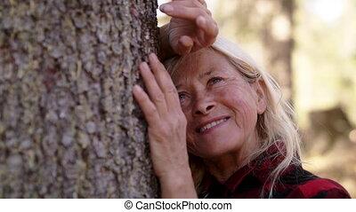 wycieczkowicz, relaxing., senior, drzewo, kobieta, outdoors...