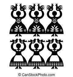 wycinanki, modèle, folklorique, kolbielskie, polonais, art