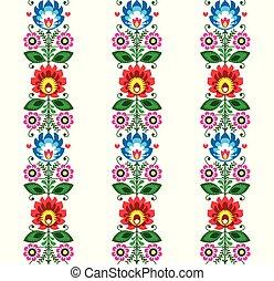 wycinanki, patrón, -, vector, gente, diseño, floral, polaco, tradicional, flores, seamless, arte, lowickie