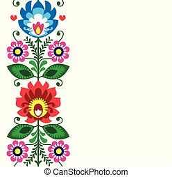 wycinanki, tarjeta, -, patrón, vector, o, gente, polaco, tradicional, flores, invitación, arte, lowickie, saludo