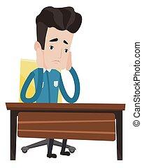 wyczerpany, smutny, student, posiedzenie, na, przedimek określony przed rzeczownikami, stół.