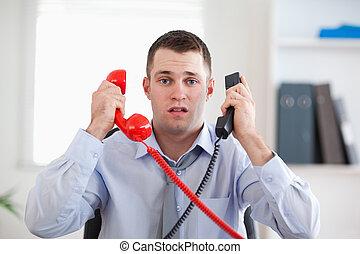 wydłużony, telefon