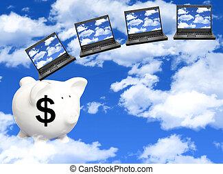 wydatki, chmura, obliczanie