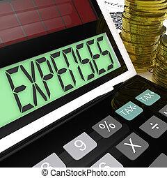 wydatki, kalkulator, środki, towarzystwo, wydatki, i, uważając