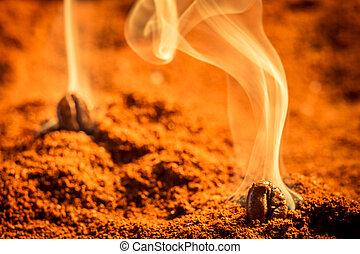 wydzielanie, kawa, upieczony, ziarno, aromat