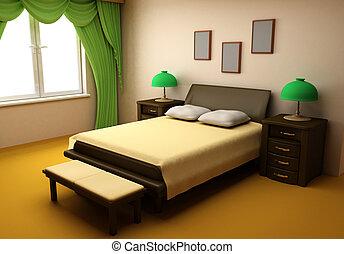 wygodny, sypialnia, wewnętrzny, 3d