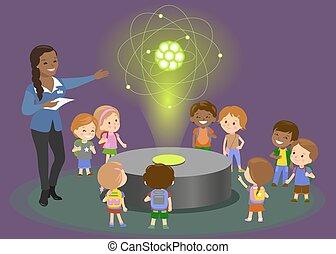 wyjaśnia, nauczyciel, wektor, atom, children., węgiel, fizyka, hologram