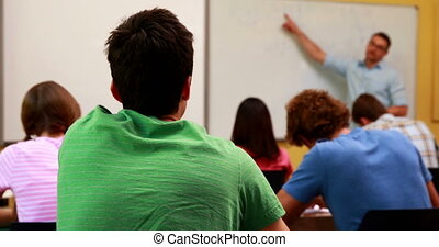 wykładowca, jego, klasa, rozmawianie