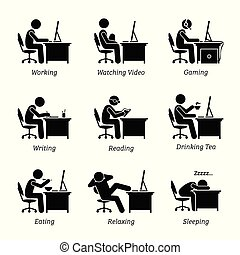 wykonawca, pracujący, przed, niejaki, komputer, na, biuro, workplace.