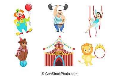 wykonawcy, strongman, litery, cyrk, komplet, lew, ilustracja, gimnastyk, powietrze, niedźwiedź, wektor, klown
