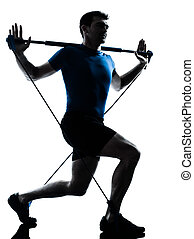 wykonując, gymstick, trening, człowiek, stosowność, postawa