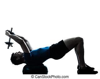 wykonując, trening, ciężar, bosu, człowiek, trening, ...