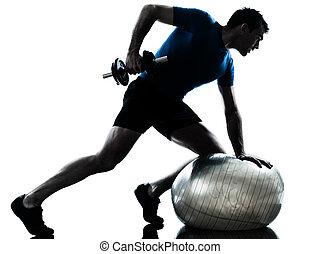 wykonując, trening, ciężar, człowiek, trening, stosowność, postawa