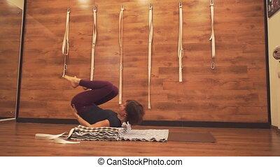 wykonuje, kobieta, yoga