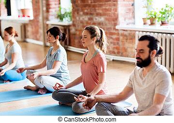 wykonuje, ludzie, grupa, yoga studio, zrobienie