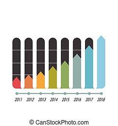 wykres, bar, strzała, infographics, wektor, wizerunek