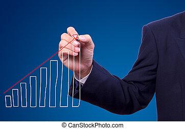 wykres, człowiek, rysunek, handlowy, ręka