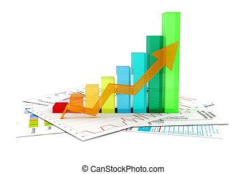 wykres, dokumenty, handlowy, 3d